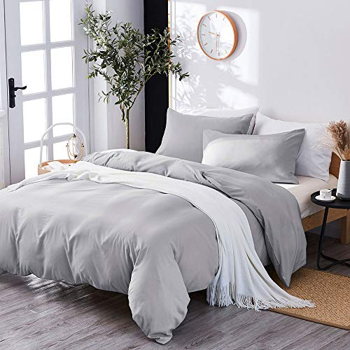 Marriarics 3 Piece Lightweight Duvet Cover King - Ultra Soft Washed Process Microfiber Gray Duvet Cover Set - Comforter Cover with Zipper Closure and 2 Pillow Shams(Gray, King)