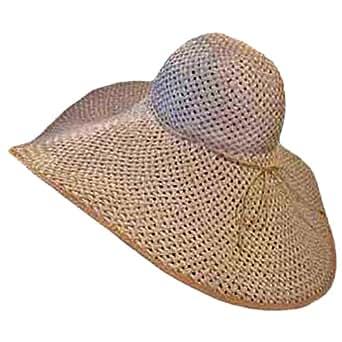 """Luxury Divas Tan White 8"""" Wide Large Brim Straw Beach Sun Floppy Hat"""