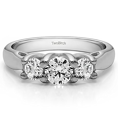 18K White Gold White Sapphire 1 CT Three Stone Trellis Set Ring (Size 3 To 15 1/4 Size Interval)