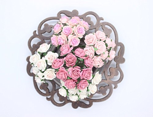 100 Pcs Mini Rose Mix Soft Pink Shade 10 mm Mulberry Paper Flowers Scrapbooking Wedding Decoration