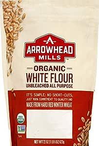 Arrowhead Mills Organic Unbleached All Purpose White Flour, 22 Ounce Bag (Pack of 6)