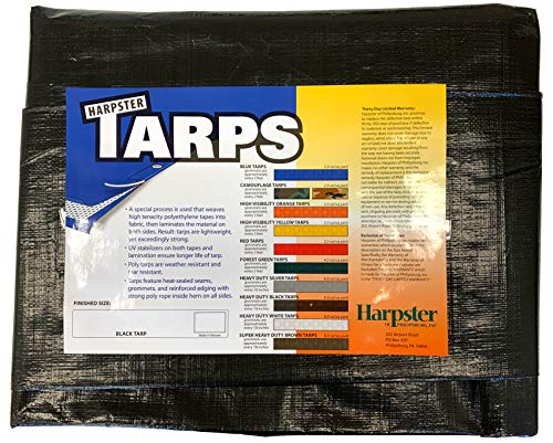 6 Ft. X 8 Ft. Heavy Duty 6 Oz. Black Poly Tarp 11-12 Mil Thick