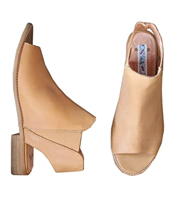 2019 professional competitive price enjoy complimentary shipping Meilidress Peep Toe Bootie Low Heel Open Toe Ankle Boot