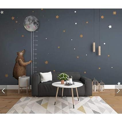 . Amazon com  BIZHIHNK Carton Bear Star Kids Bedroom Wallpaper Measure