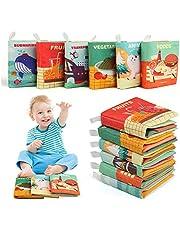 BelleStyle 6 stuks zachte boeken, baby doek boeken niet-giftige stof activiteit en zachte Crinkle baby boeken baby bad boeken educatief speelgoed geschenken voor vroeg onderwijs intelligentie ontwikkeling