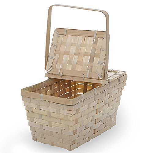The Lucky Clover Trading Natural Bamboo Picnic Basket with Lid, Small