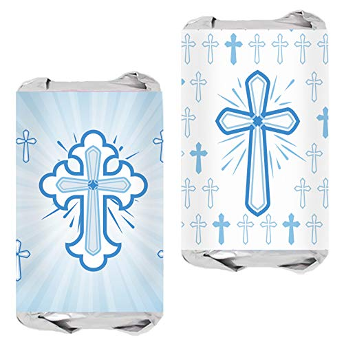 - Blue Baptism Party Mini Candy Bar Wrappers for Boy - Religious Cross - 45 Stickers