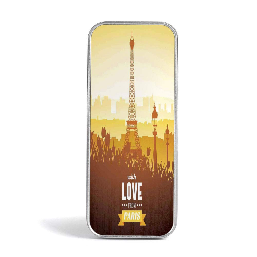 Amazon com tin box paris decor perfect holder for pencils and pens eiffel tower with tulip and city silhouette nostalgic town floral romantic scene