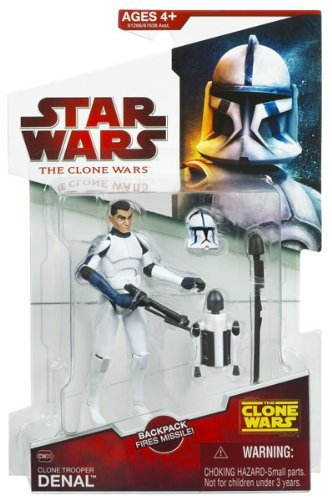 - Star Wars 2009 Clone Wars Animated Action Figure CW-20 Clone Trooper Denal