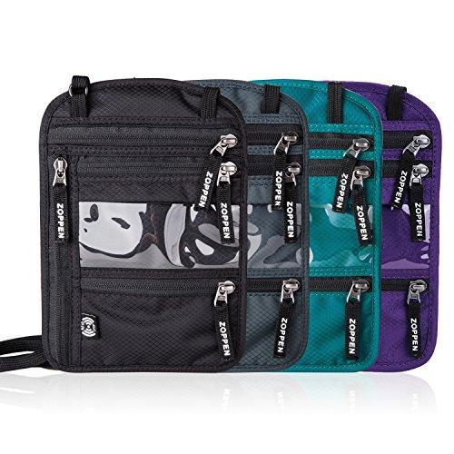 Zoppen RFID -Blocking Travel Passport holder Neck Stash Ultra Slim Wallet Purple by Zoppen (Image #5)