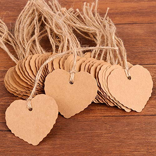 (Coogam 50 Pack Brown Kraft Paper Gift Tags with Twine String Attached Tie on - Heart Designs for DIY Holiday Christmas Present Wrap Stamp Label Package Name Thank You Blank Card Merchandise Tags )