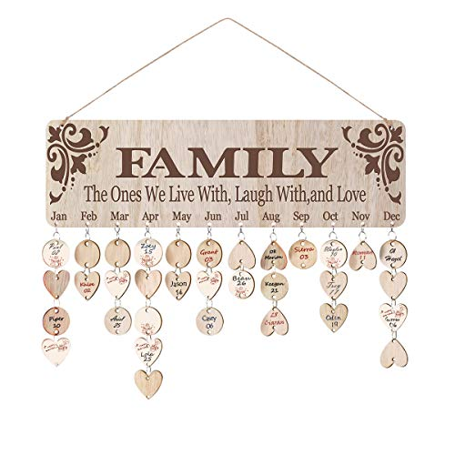 ElekFX Birthday Gift for Mom Dad Family Birthday Calendar Hanging Board [with 100 Pack Discs] DIY Wood Calendar Board Reminder Handmade Wall Plaque for Home Decor Creative DIY Birthday Gift (And Decor Gifts Home)