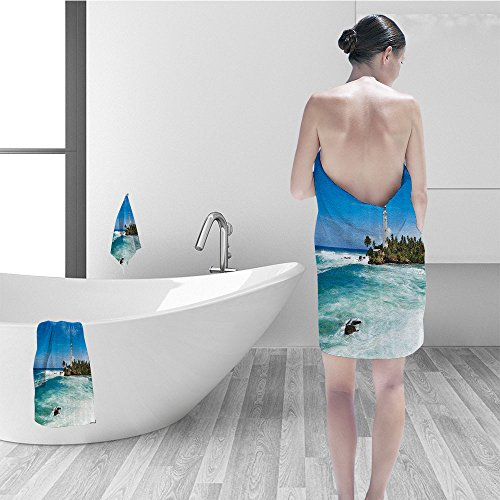 Price comparison product image Nalahomeqq Bath towel set Lighthouse Decor Tropical Island Lighthouse Palm Trees Rocks Wavy Seaside Beach Ocean Bathroom Accessories Blue White Green