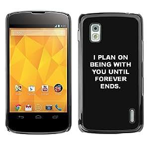 Cubierta protectora del caso de Shell Plástico || LG Google Nexus 4 E960 || You Love Black White Inspiring @XPTECH