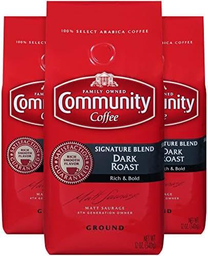 Community Coffee Signature Blend Dark Roast Premium Ground 12 Oz Bag (3 Pack), Full Body Rich Bold Taste, 100% Select Arabica Coffee Beans