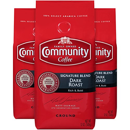 - Community Coffee Signature Blend Dark Roast Premium Ground 12 Oz Bag (3 Pack), Full Body Rich Bold Taste, 100% Select Arabica Coffee Beans