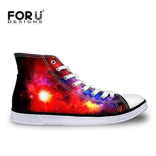 Voor U Ontwerpen Glanzende Glitter Unisex Hoge Top Dames Heren Galaxy Schoenen Canvas Mode Sneakers Lace Up Galaxy 5