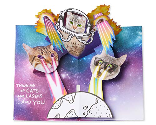 American Greetings Funny Cats in Space Pop-Up Birthday Greeting Card with Music