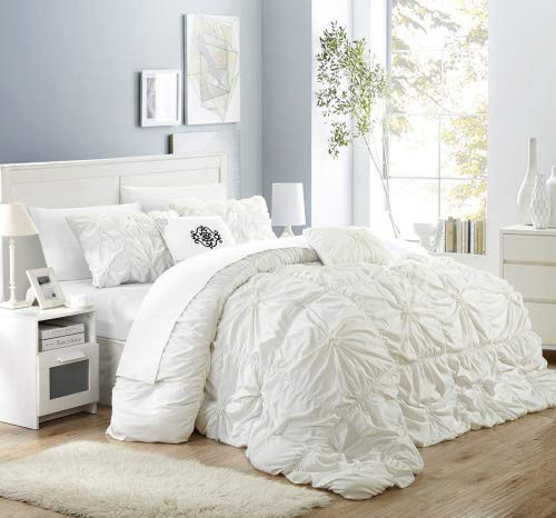 (Chic Home Halpert 6 Piece Comforter Set Floral Pinch Pleated Ruffled Designer Embellished Bedding with Bed Skirt and Decorative Pillows Shams Included, Queen White)