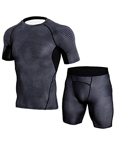 Mens Workout Clothes with Compression Pants Summer Breathable Gym Suit Close Fitting Sets Black1 2XL