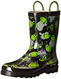 Western Chief Boys Waterproof Printed Rain Boot with Easy Pull On Handles, End Zone, 5 M US Toddler