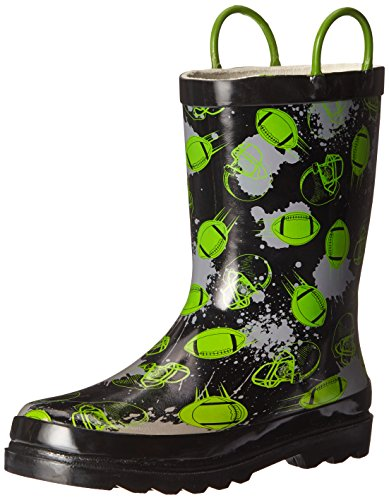 Western Chief Boys Waterproof Printed Rain Boot with Easy Pull On Handles, End Zone, 12 M US Little Kid