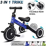 67i Kids Tricycles 3 in 1 Toddler Tricycle Kids Trike Tricycles for 2 Year Old Tricycle Bike 3 Wheel Convert 2 Wheel with Removable Pedal and Adjustable Seat for Boys Girls Kids Ages 1-5 Years (Blue)