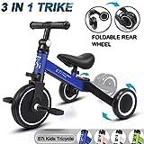 67i Kids Tricycles 3 en 1 Tricycle pour enfants Trike Tricycles pour 2 ans Tricycle vélo 3 roues Convertir 2 roues avec pédale amovible et siège réglable pour garçons filles 1-5 ans (Bleu)