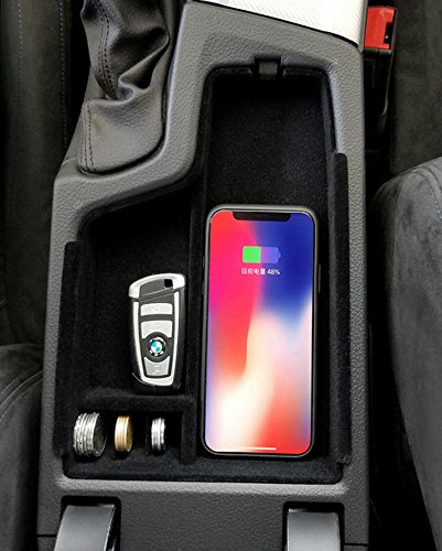 eLUUGIE Qi Wireless Charger Mat Car Phone Holder Armrest Storage Box for iPhone X iPhone 8,8 Plus Glove Tray for BMW 3 Series 2013-2017 Black