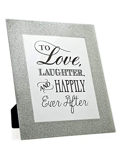 Philip Whitney Picture Frame Fits 8x10 Photo Silver Glitter Glass Border