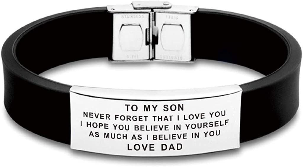 FALOGIJE Inspirational Letters to Our/My Son I Hope You Believe Bracelet Gifts from Mom and Dad