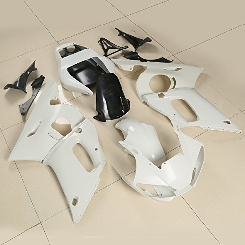(XMT-MOTO ABS Injection Fairings Kit BodyWork For YAMAHA YZF 600 R6 YZF-R6 1998 1999 2000 2001 2002(Unpainted White, 1 Set))