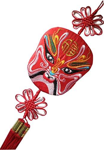 Chinese Opera Mask (Peking Opera Facial Mask Chinese Knot Tassels Decoration Wall Hanging Folk Arts)