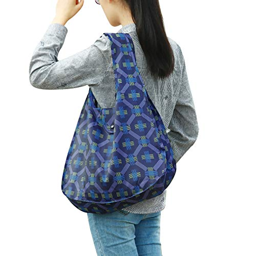 Happyandus Reusable Grocery Shopping Bags Tote Foldable into Attached Pouch Waterproof,Washable,Durable and Lightweight