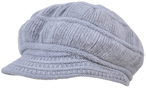 - Yuhan Pretty Women's Wool Knit Winter Hat Warm Plush Lined Snow Ski Visor Caps (Gray)