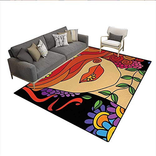 - Carpet,Surrealistic Abstract Portrait of a Woman with Swirly Hair Flowers and Leaves,Outdoor Rug,MulticolorSize:6'x7'