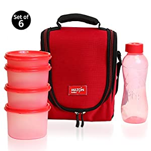 Milton LUNCH BAG ~ SET of 6 ~ Insulated Lunch Box With Reusable and Leak Proof Containers and Water Bottle High Quality Double Zipper Lunch Bag For Adults and Kids ~Great for School~ Red