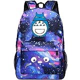 YOURNELO Boy's Girl's Cartoon Totoro Canvas School Backpack Bookbag (Galaxy Blue 3)