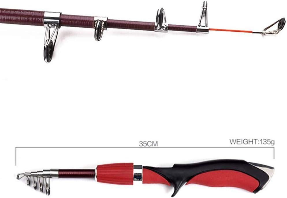 Spinning ca/ña de Pescar telesc/ópica 1,4 m de Peso Ligero Portable de la Pesca Mini Cristal Varilla de Fibra