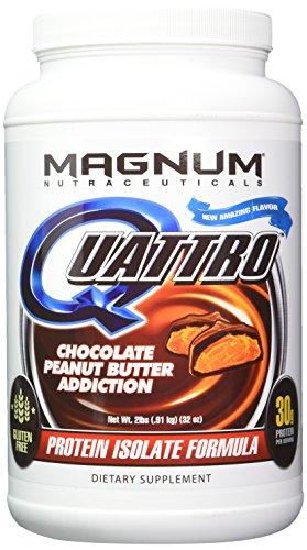 Magnum Nutraceuticals Quattro Protein Powder – 2lbs – Chocolate Peanut Butter Addiction – Pharmaceutical Grade Protein Isolate – Lactose Free – Gluten Free – Peanut Free