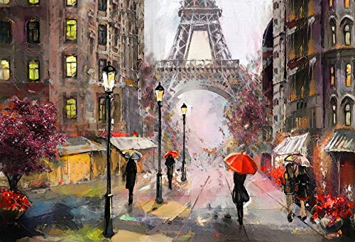 QCWN Oil Painting Paris Eiffel Tower Tapestry Wall Decor Abstract People Under Rain Paris City Street Eiffel Tower Art Design Wall Hanging Large Tapestry for Bedroom Living Room Dorm.Multi 79x58Inc