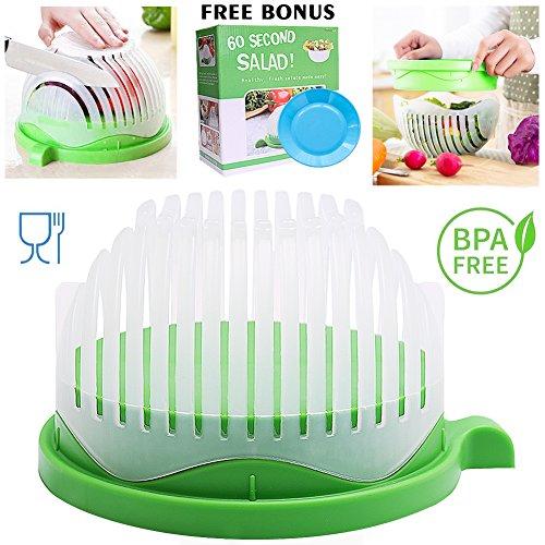 Salad Cutter Bowl 60 Seconds Salad Maker, Salad Slicer Chopper Fruit Vegetable Strainer, Food Grade, Multi-use (White with Green)