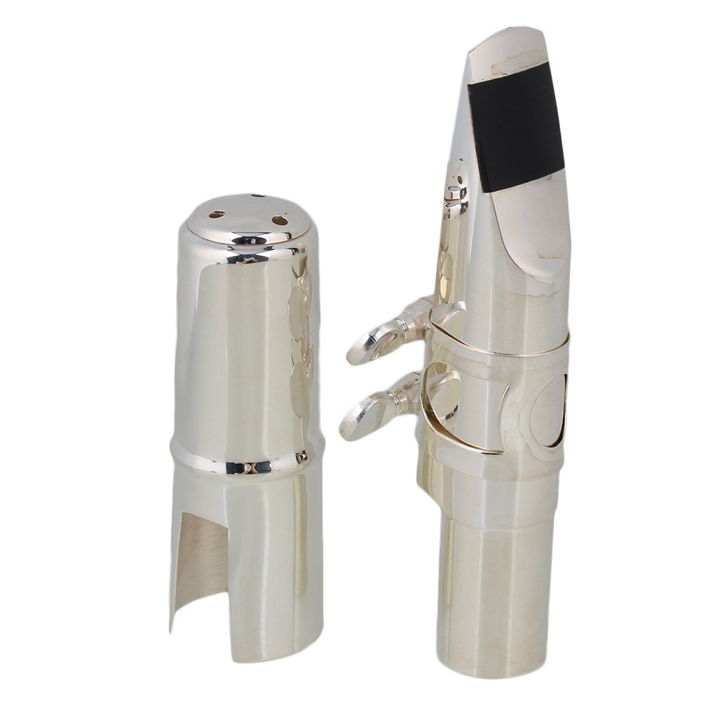 Yibuy #7 Silver Nickel-plated B-flat Tenor Saxophone Mouthpiece with Ligature Reed