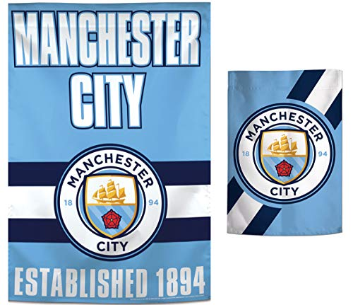 (WinCraft Bundle 2 Items: Manchester City FC Team Stripe Edition 1 Vertical Flag 28