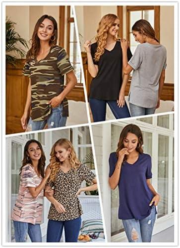 LONGYUAN Womens Long Sleeve T-Shirt Vneck Casual Basic Tops Tee Comfort Loose Cotton Blouses