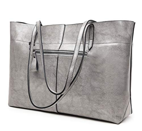Covelin Women's Handbag Genuine Leather Tote Shoulder Bags Soft Hot Grey (Bag Leather Shoulder Tote)