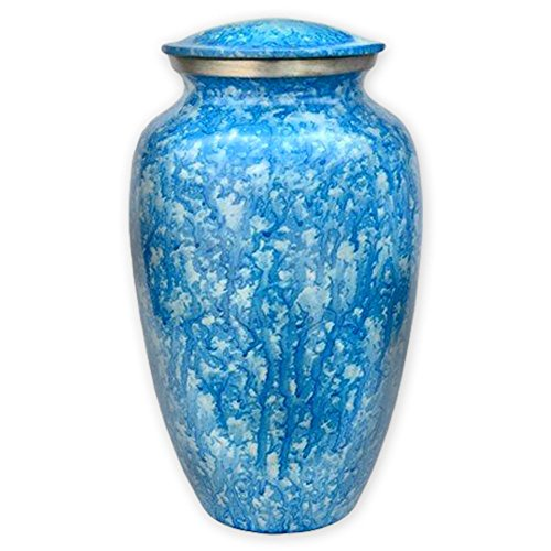 Beautiful Life Urns Corsica Blue Adult Cremation Urn - Exquisite Funeral Urn with Serene Blue Finish (Large)