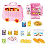 WOLFBUSH Toy Fridge for Kids, 16Pcs Simulation Electric Toy Refrigerator with Light Sound Function for Children BGirls Boys