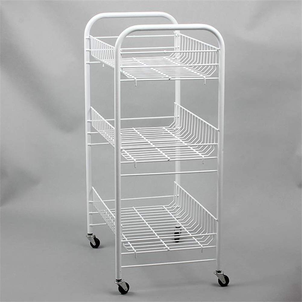 Bookcases Convenient Family with Vegetable Rack Kitchen Rack, Three-Tier Fruit Storage Rack, Removable Bathroom Floor Storage Storage Shelf Yixin (Color : A, Size : 3526.566cm)