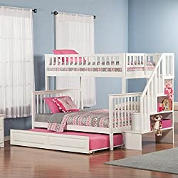 Atlantic Furniture Woodland Staircase Bunk Bed with Raised Panel Trundle Bed, White, Full/Full